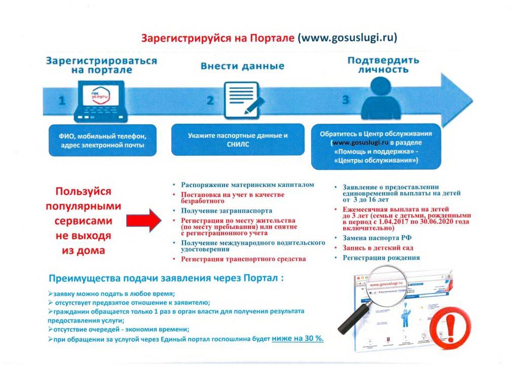 Информация о регистрации на портале гос.услуг